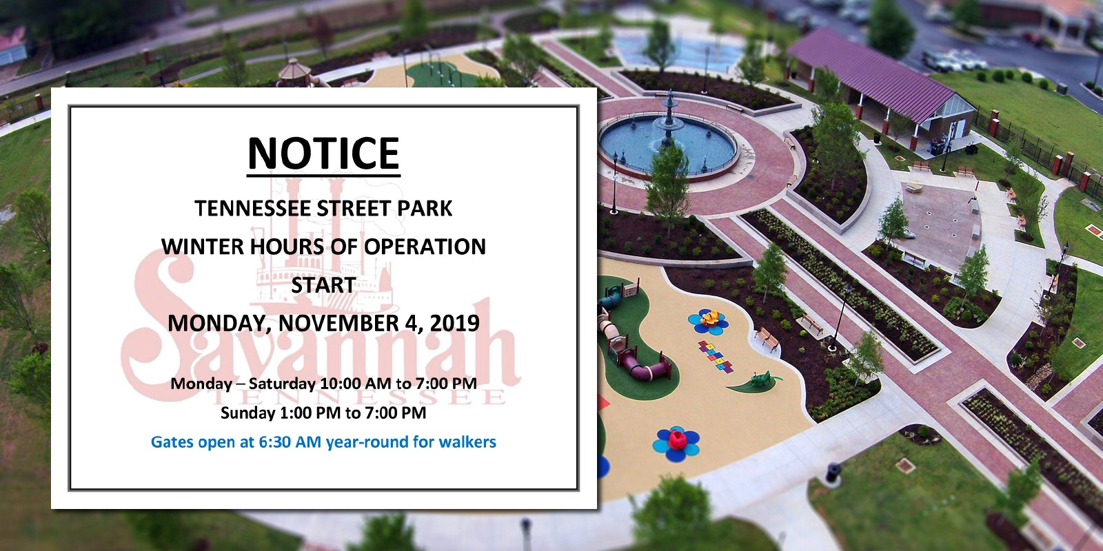 Tennessee Street Park – Winter Hours Start November 4th