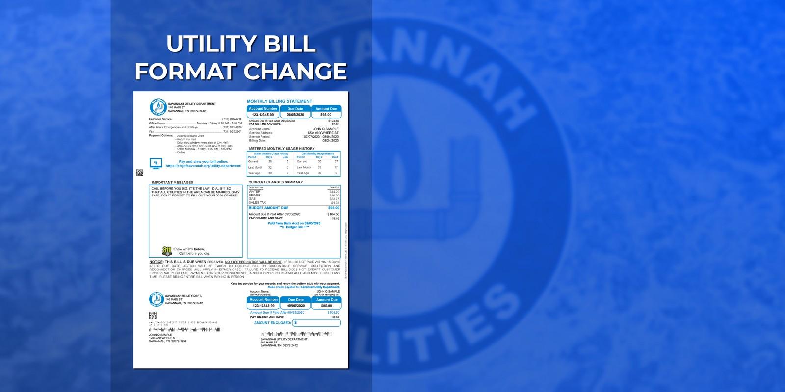 Savannah Utility Department – Utility Bill Format Change